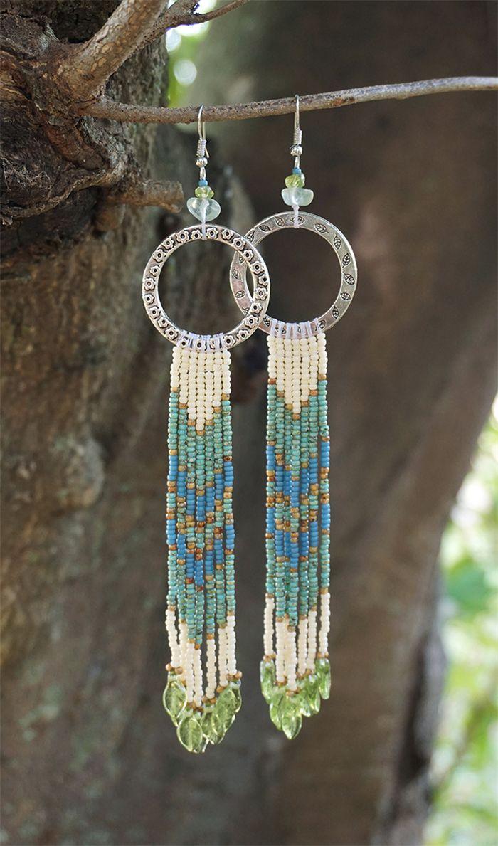 Native American Dangle Drop Long Beaded Earrings - Summer Leaves