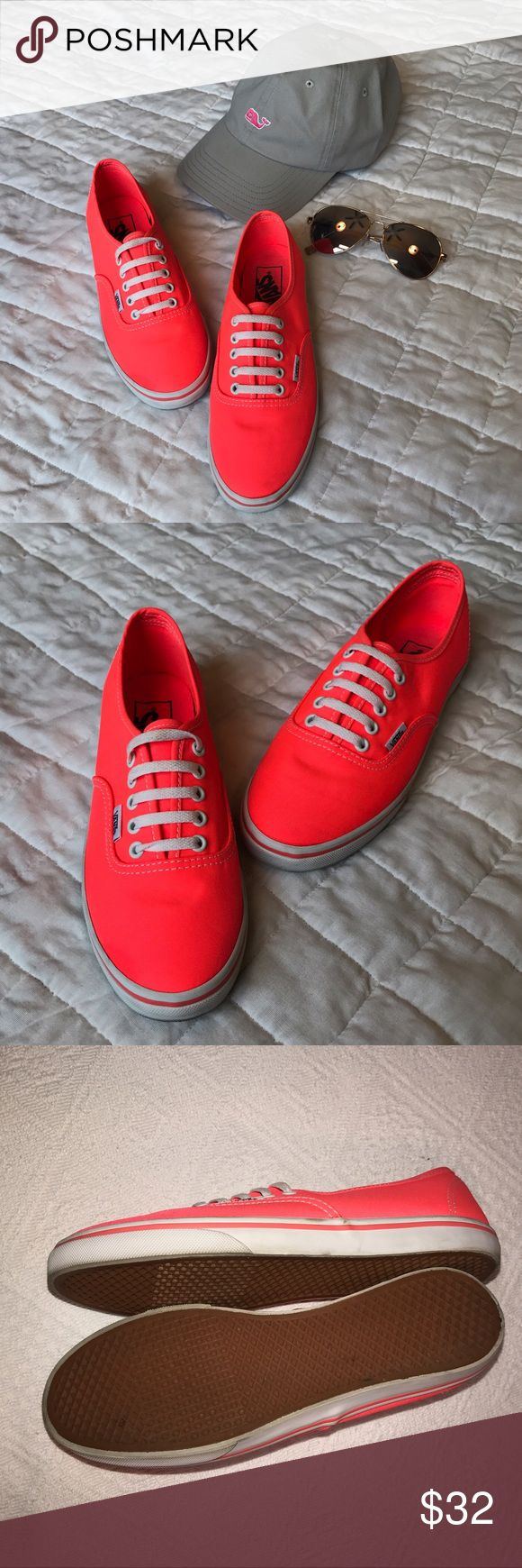 Neon Coral Size 6.5 Vans Canvas Skater Shoes Gently used neon coral VANS in size 6.5 Women's. Worn by my daughter a few times and show a few light signs of wear but overall great condition. Vans Shoes