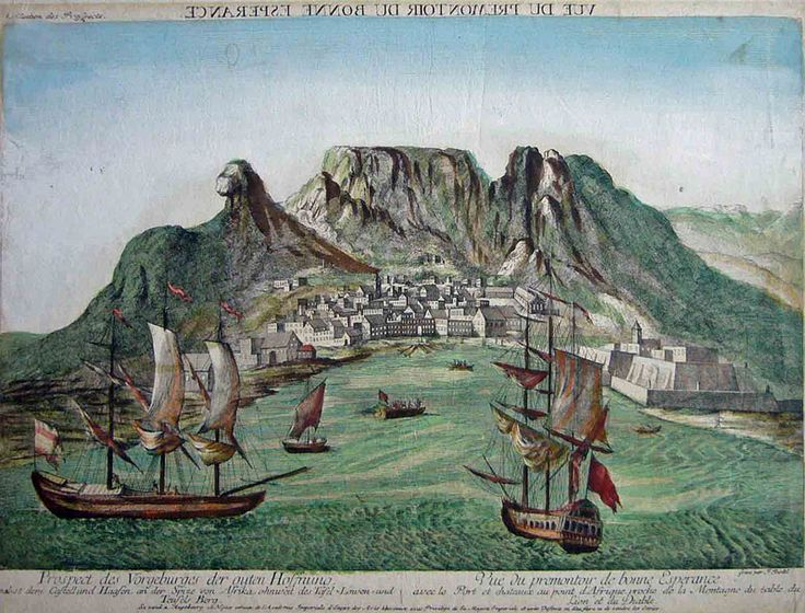 Mapmaker: Riedel Title: Prospect des Vorgeburges der guten Hoffnung Date: 1780 Size: 29x40cm. Price: £1250 Condition: Very good. A few very minor spots. Rare Vue D'Optique. View of Cape Town reversed right / left