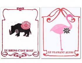 Le Rhino, c'est rose... le Flamant aussi, Jeanne Picq, galerie L'oeil ouvert