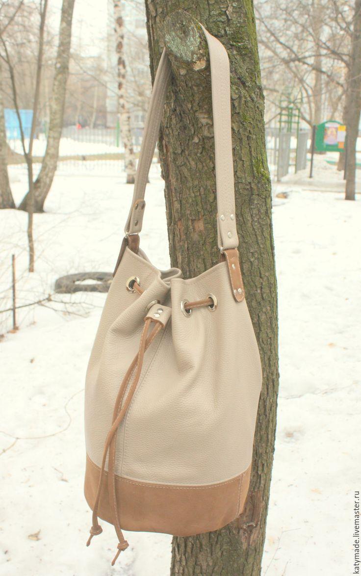Купить Сумка торба, натуральная кожа - бежевый, сумка торба, сумка на плечо, сумка с люверсами