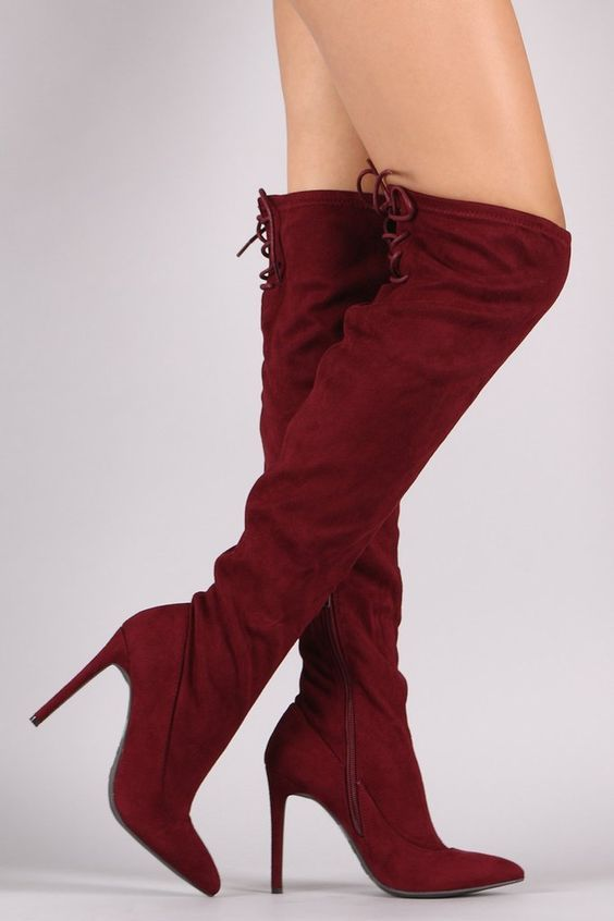 Anne Michelle Suede Back Lace Up Stretchy Stiletto Boots