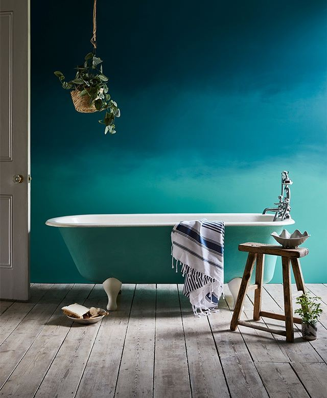 Use Wall Paint By Annie Sloan On Walls For A More Durable Finish And Perfect Bathrooms Felix Painted This Ombré Blend Using In