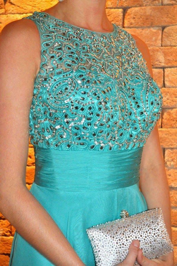 Prom Gown Jewel Neckline Beaded Bodice And Tiered Skirt Floor Length Evening Dress on Luulla