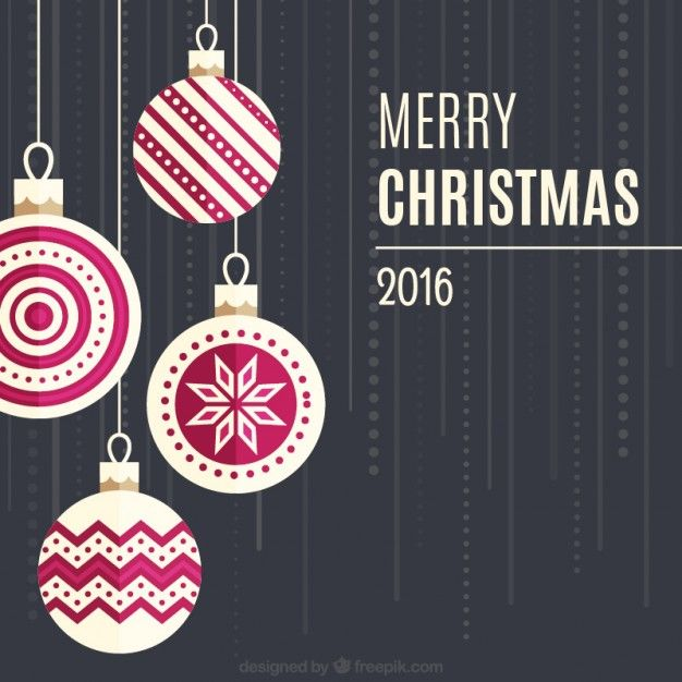 Free vector Merry christmas background with hanging baubles #34131