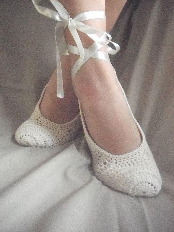 Wedding Dance shoes Woman crochet home slippers by yagmurshop