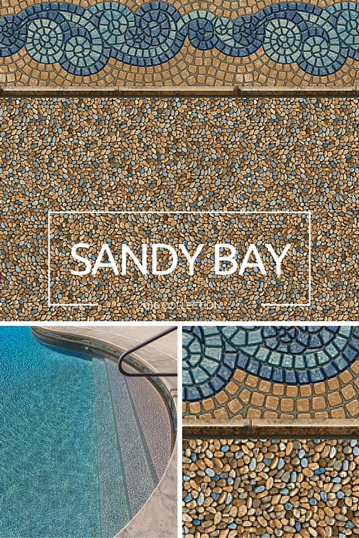 Sandy Bay - The dynamic new tile design combines cool blues and teals with warm sand colors that will complement many different types of deck and surroundings. The new pebble floor is amazingly realistic and will be available in our SureStep material. #beautifuldesigns #poolliner #pool