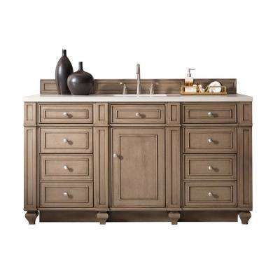 Bristol 60 in. W Single Vanity in Whitewashed Walnut with Quartz Vanity Top in White with White Basin