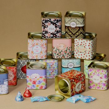 12pcs/lot tea canister metal tin case wedding candy box vintage medicine organizer  free shipping