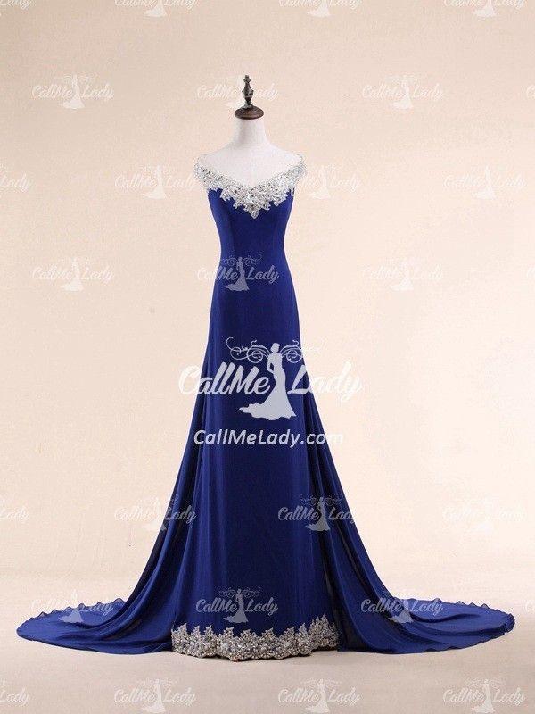 Royal blue sexy off-the-shoulder beading long evening dress - CallMeLady