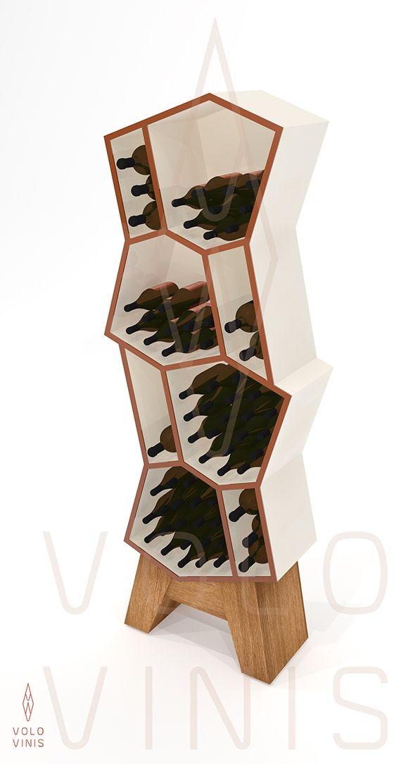 Garrafeira Coluna Hator, da VOLO VINIS. Design contemporâneo luxo exclusivo para vinhos, disponível em www.volovinis.com
