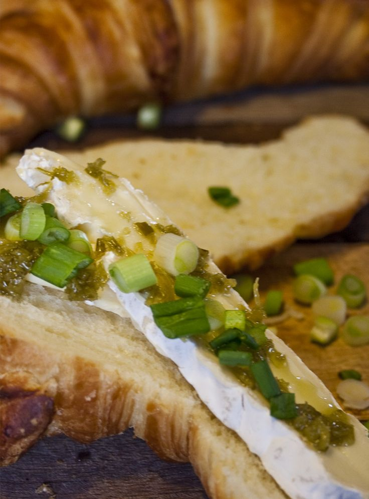 Croissant with garlic scape brie. Must try @LePetitMas fermented garlic scapes!
