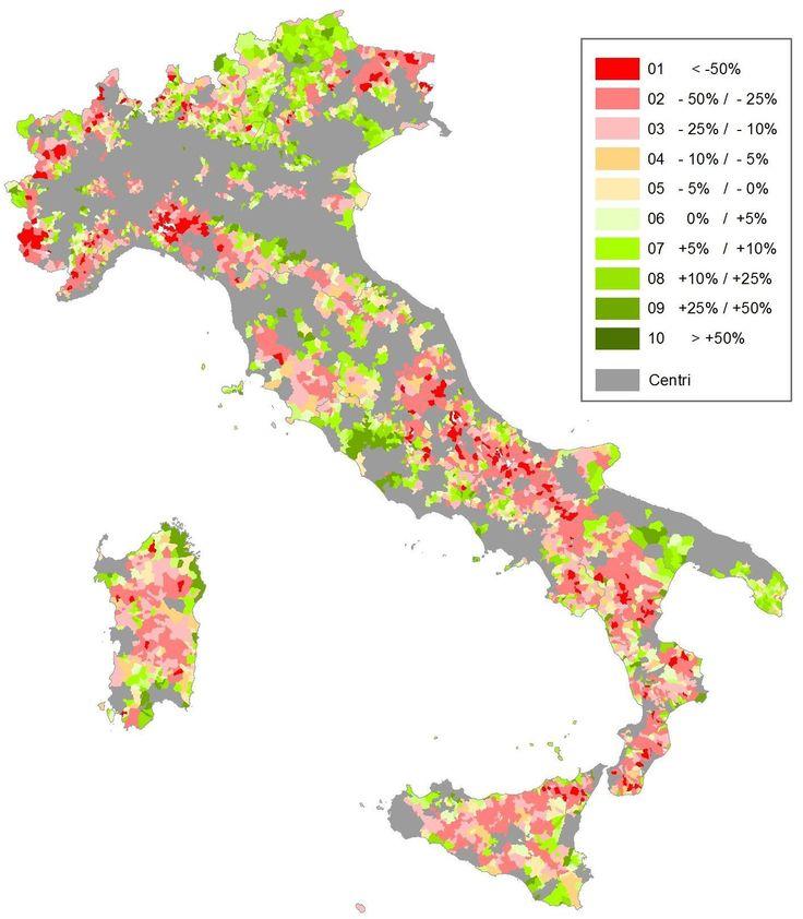 Aree Interne. Variazione della popolazione residente 1971-2011