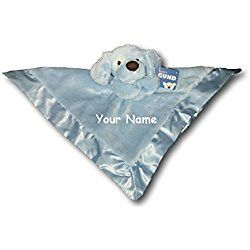 Personalized GUND Spunkie Blue Puppy Dog Baby Lovey Toy Snuggle Blanket - 16 Inches