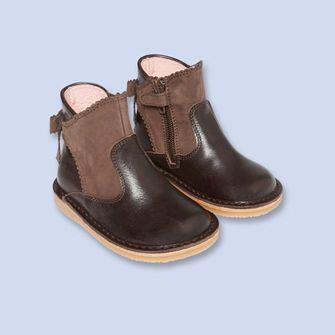Boots en cuir lisse et nubuck MARRON Fille - Chaussure - Jacadi Paris