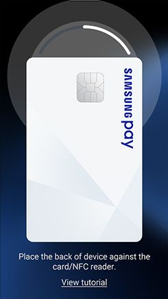 Screen shot of Samsung Pay requesting user to hold device near card reader to complete transaction