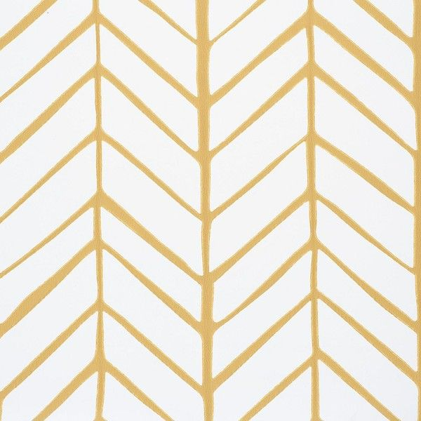 Serena & Lily Feather Wallpaper – Mustard found on Polyvore