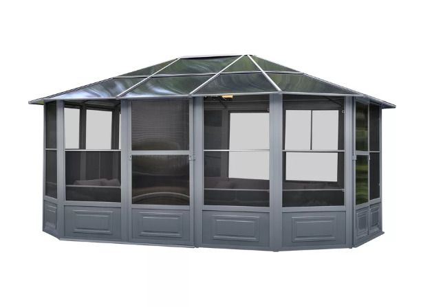 Outdoor Log Cabin Home Kit Metal Permanent Gazebo Garden Shed Summerhouse Room #GazeboPenguin