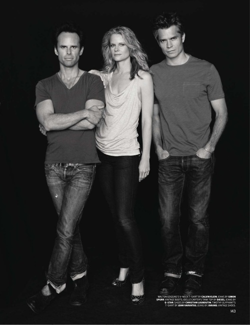 Justified cast shot: (left to right) Walton Goggins, Joelle Carter and Timothy Olyphant.