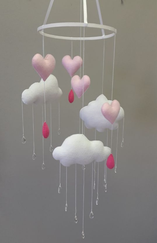 Our plush #Clouds and #Hearts #BabyMobile in #pink and #white is perfect for any #BabyGirl's elegant nursery!  #BabyBedding #BabyLinen