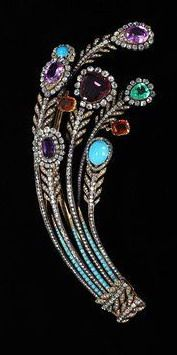 Aigrette, France, c. 1810 Aigrette with diamonds, turquoises, an emerald and other coloured stones. V&A Museum