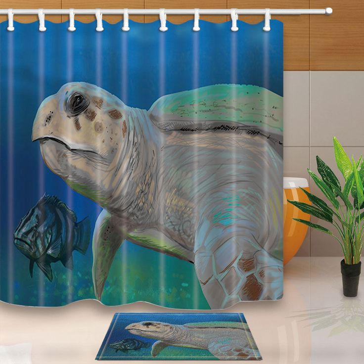 Hand Draw Turtle And Fish Waterproof Fabric Shower Curtain Set Bathroom 71Inches