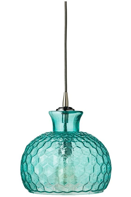 The unique design of this Aqua Clark Pendant is perfect for modern or transitional decorating concepts. The honeycomb texture of the shade recalls mid-century glassware, while the sleek bowl shape ...