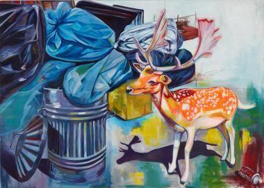 Happy go dump - 120 cm x 140 cm Akryl på lærred. Et originalt maleri af Rikke Line Andreasen.