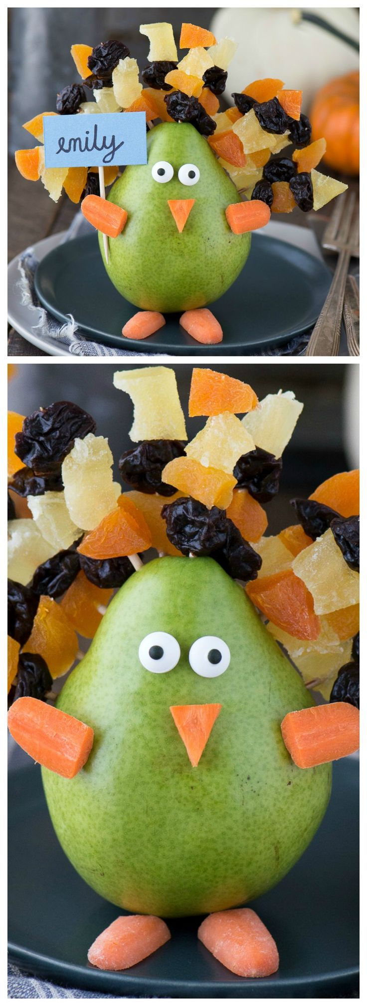Edible Thanksgiving Turkey Place Card or Centerpiece ~ Adorable and  easy to make with a pear, dried fruit on toothpicks, carrot pieces and candy eye balls!