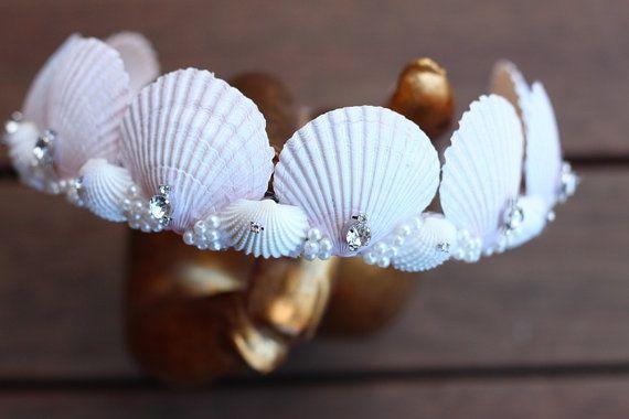 white mermaid crown by chelseasflowercrowns on Etsy