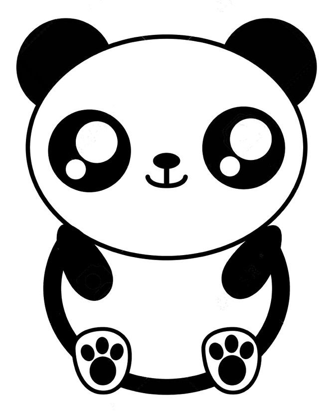 Coloriage Kawaii : Panda 7 | Coloriage panda, Coloriage kawaii, Art de panda