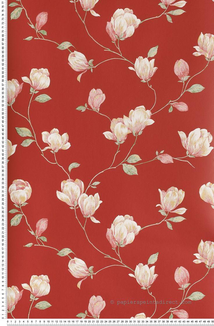 Magnolia rouge - Papier peint English Floral de Lutèce