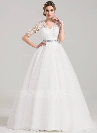 Ball-Gown V-neck Court Train Sash Beading Bow(s) Covered Button Sleeves 1/2 Sleeves Church General Plus No Spring Summer Fall Ivory Tulle Wedding Dress