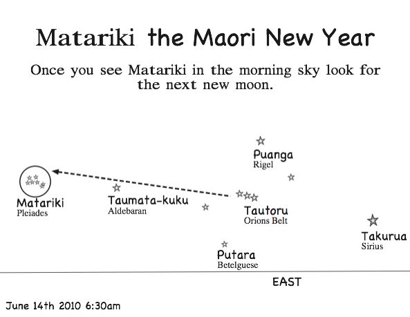 At the time of Matariki, the star cluster is in the morning sky in the East. You will need to get up well before sunrise and looking due East you will notice three stars in a row. This is Tautoru/Orions belt. Above these stars you will see Puanga/Rigel. Tautoru points to the right at Takurua/Sirius and to the left to Matariki.