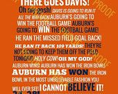 Auburn vs Alabama Radio Call State Outline by NovaWebDevelopment