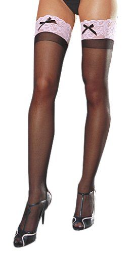 Dreamgirl Women's Sheer Thigh High with Contrast Lace and Bow, Black/Pink, One Size Dreamgirl http://www.amazon.com/dp/B0013GA6E0/ref=cm_sw_r_pi_dp_wOIKtb1QNSH5N8YA