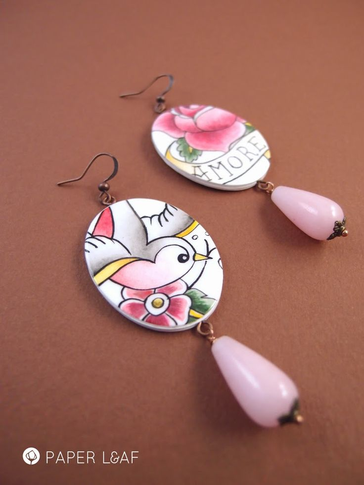 Porcelain Tattoo | Amore | handpainted paper earrings with pink quartz drops | Paper Leaf