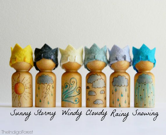 Waldorf Inspired Weather Of The Day Gnome set by The Indigo Forest