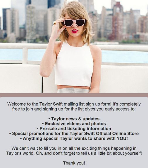 Taylor Swift email list signup