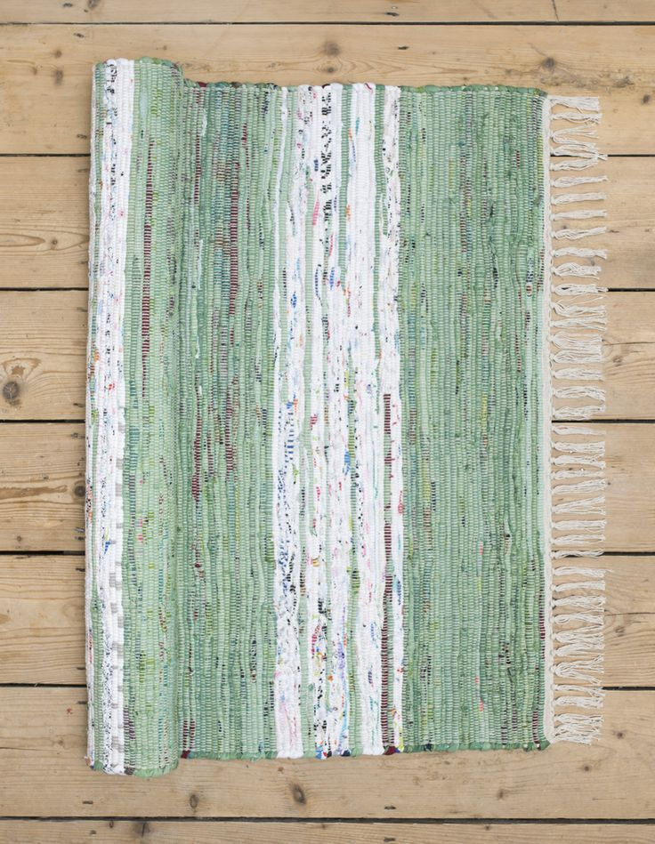 Holger green and white Scandinavian rag rug and hallway runner from Skandihome, home of Swedish and Scandinavian rugs and gifts