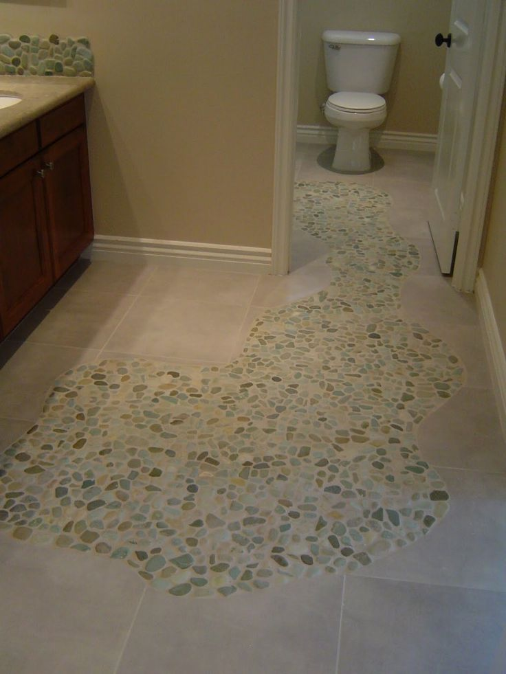 Sliced sea green and white pebble tile mosaic floors for White tile flooring ideas