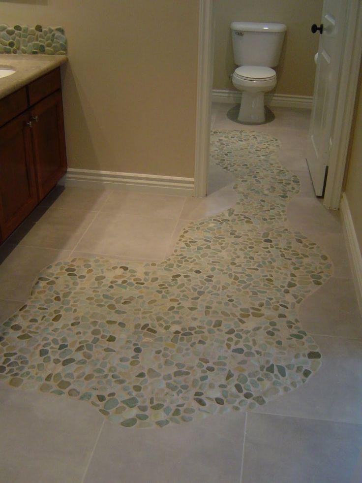Pebble Floor Tile shower floor edge is shown Sliced Sea Green And White Pebble Tile