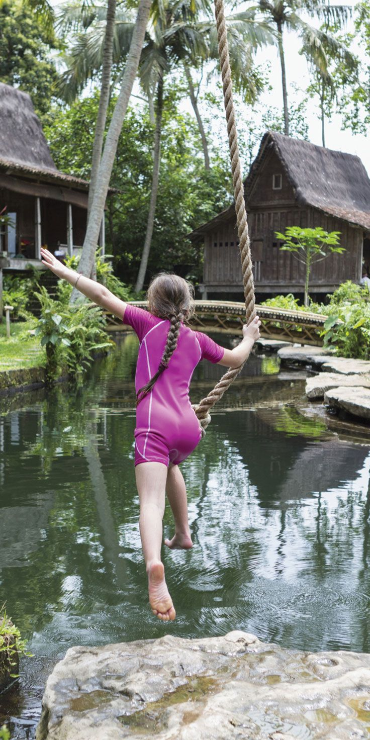 About to make a splash in Ubud - Bali's arts and culture capital.   Ubud offers an abundance of activities and must-see attactions for families including the Sacred Monkey Forest and Ubud Palace.