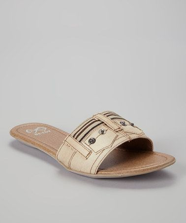 Look at this #zulilyfind! Beige Jean Strap Sandal #zulilyfinds