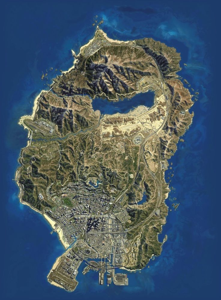 A1 GTA 5 GRAND THEFT AUTO FIVE MAP SATELLITE PICTURE HIGH RES ART PRINT POSTER