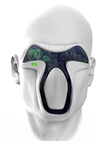 FUTURE - This futuristic digital mask would emulate the smell, sound and the quality of air for that wonderful fresh experience and also the facial expressions of the user can be detected