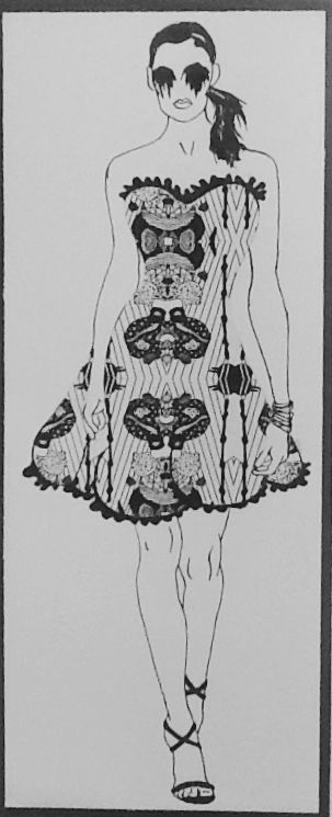 Print on dress.