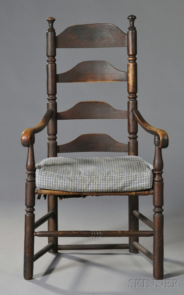 AMERICAN FURNITURE & DECORATIVE ARTS - SALE 2618B - LOT 376 - PAINTED MAPLE SLAT-BACK ARMCHAIR, NEW ENGLAND, EARLY 18TH CENTURY, EARLY RED-BROWN PAINTED SURFACE, (IMPERFECTIONS), HT. 43 1/4, SEAT H - Skinner Inc