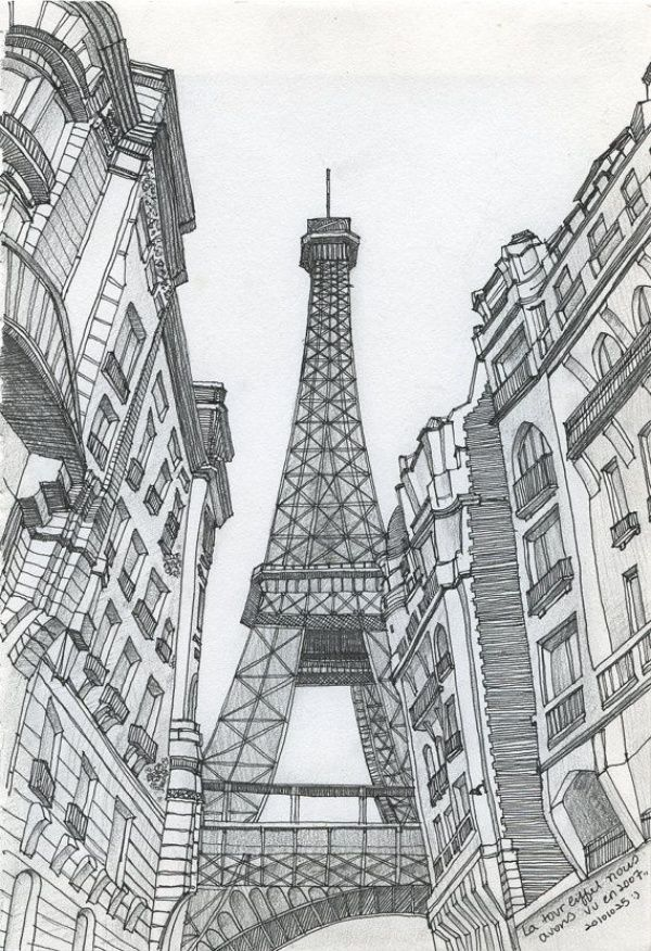 70 Easy And Beautiful Eiffel Tower Drawing And Sketches Eiffel Tower Drawing Beautiful Drawings Cool Art Drawings