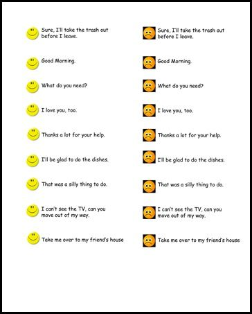 Tone of Voice - role play discuss how just changing our tone can cause different responses.  kids ham it up demonstrating same phrase in two tones